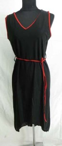 Lady's black dresses with waist tie string