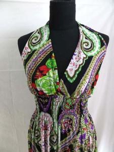 bohemian retro vintage paisley short dress / sundress / beach dress / vacation dress / halter dress