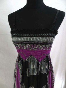 Retro vintage bohemian short dress with adjustable shoulder strap. Hippy boho mini dress / tube top dress / boho beach dress / vintage sundress / vacation dress / halter dress