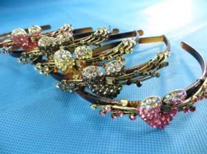 antique retro rhinestone crystal hair band, acrylic headband head piece with beautiful rhinestone crystals for ladies and girls
