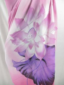 Pink lotus flower long shawl wrap scarf stole sarong with silver outlines on lotus prints Can be used as scarf, shawl, throw, stole, evening wrap, beach dress, summer skirt, swimwear cover-up.