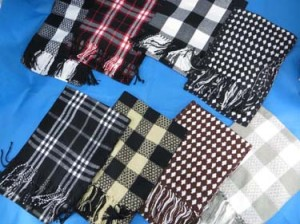 Plaid checkers and geomatric simple design men's and unisex winter thick scarves