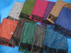 Crack tiles design pashmina scarves shawl wrap stole. Soft, warm, stylish.