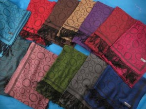 Circles design pashmina scarves shawl wrap stole. Soft, warm, stylish.