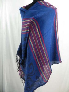 Vintage art prints and metalic strips pashmina scarves shawl wrap stole