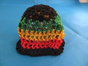 Handmade crochet baby rasta hat. Striped beanie for baby boys or girls
