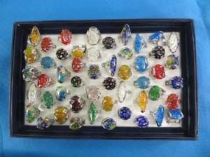 Murano Glass Millefiori One Thousand Flowers Venetian Glass Rings