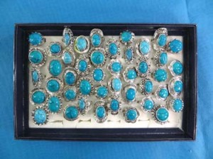 retro antique style turquoise semi-precious stone jewelry rings