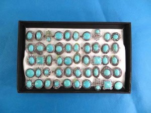 antique style turquoise semi-precious stone jewelry rings