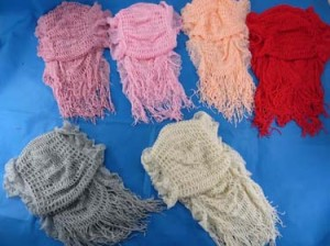 Double layer tasseled hippie chic winter scarf
