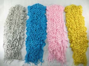 3D double layer ruffled trim tasseled hippie chic reversible winter scarf