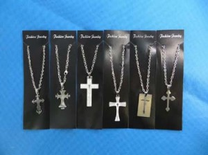 Assorted cross designs stainless steel pendant necklaces men's jewelry