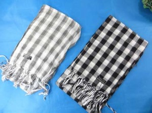 Black and white, grey and white checkered plaid pashmina scarves shawl wrap stole. Light, thin, soft, warm