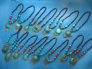 Tibetan necklace with faux gemstones and wooden beads