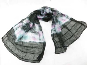 Black tie dye polyester scarves shawl wrap stole. Light, thin, soft, half see through