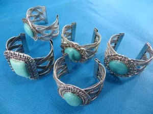 Chunky turquoise bangle cuff bracelets in mixed vintage retro designs