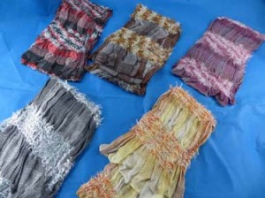 cute hairy fashion shawls wraps with ruffled stripes, very soft and comfortable