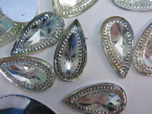 tear drop flatback clear acrylic rhinestone applique embellishment for scrapbooking