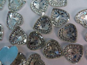 heart flatback clear acrylic rhinestone applique embellishment for scrapbooking