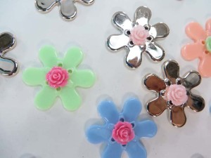 resin flower mix colors flatback applique embellishment for scrapbooking