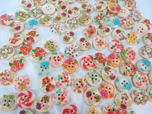 flower wooden button flatback applique embellishment for scrapbooking