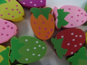 strawberry wooden button flatback applique embellishment for scrapbooking