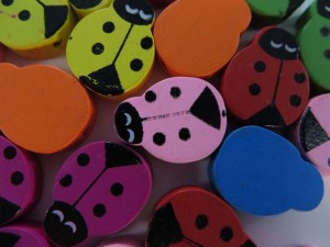 ladybug wooden button flatback applique embellishment for scrapbooking
