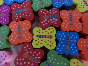 butterfly wooden button flatback applique embellishment for scrapbooking