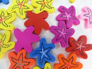 starfish wooden button flatback applique embellishment for scrapbooking