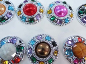 silver tone large acrylic rhinestone flatback button applique embellishment for scrapbooking