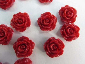 resin red rose flower flatback applique embellishment for scrapbooking