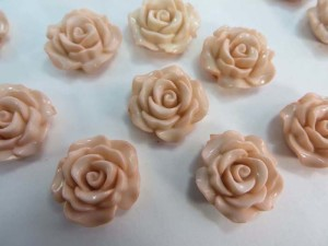resin peach color rose flower flatback applique embellishment for scrapbooking