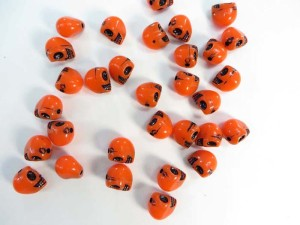 resin orange skull flatback applique embellishment for scrapbooking