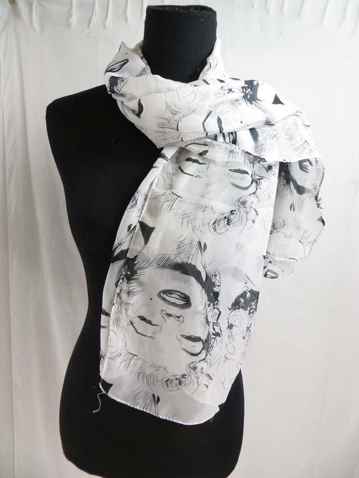 Marylin Monroe chiffon scarves American Icon celebrity scarf shawl wrap Soft, silky, half see through, stylish, beautiful colors, trendy designs, light and comfortable to wear. Can be used as scarf, shawl, throw, stole, head wraps and headscarves, evening wrap, hip scarf, beach wrapping mini skirt, swimwear cover-up.
