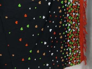 red edge hearts black sarong