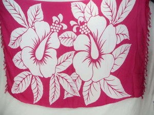 fuchsia giant hibiscus Hawaiian flowers sarong