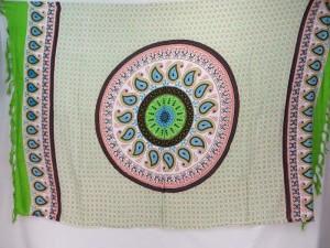 paisley mandala green edge sarong hippie clothes wholesale