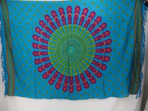 teal blue peacock feather boho gypsy scarf wrap Bohemian mandala sarong