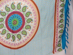 paisley mandala blue edge sarong