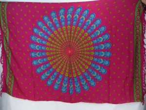 fuchsia peacock feather boho gypsy scarf wrap Bohemian mandala sarong