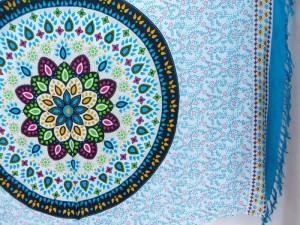 Indian star mandala circle blue edge sarong