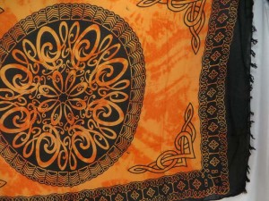 interlaced knotwork orange yellow mandala celtic sarong