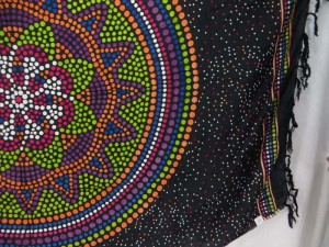 thousand dots Indian star inside mandala circle black green sarong altar clothes tapestry wall hanging