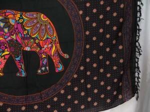 pink orange mosaic elephant in mandala circle black sarong