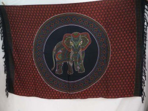 thousand dots elephant inside mandala circle black red orange sarong tapestry wall hanging sarong