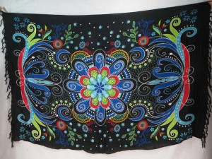 giant butterfly floral pattern sarongs blue black