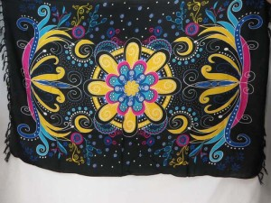 giant butterfly floral pattern sarongs yellow black