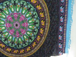 green black elephant mandala sarong turquoise edge