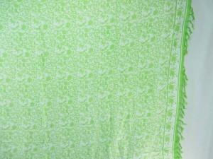boho vintage design sarong green on white