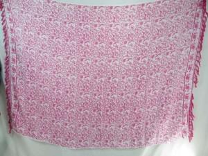 boho vintage design sarong pink on white